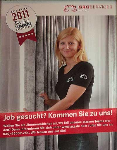 Stellenanzeige der GRG für Zimmermädchen (Berliner S-Bahn, 2011)