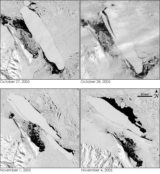 Auseinanderbrechen von Eisberg B-15A