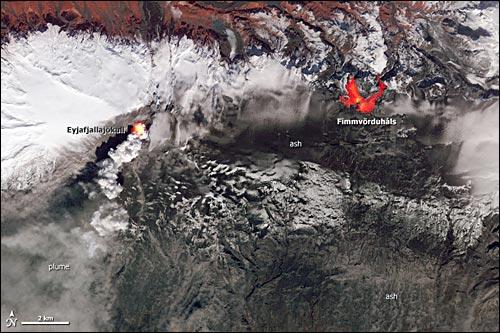 Eyjafjallajökull, mit den Eruptionszentren