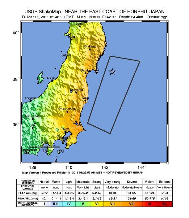 Erschütterungskarte des Erdbebens vom 11.März 2011