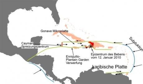 Abbildung 2: Vereinfachte plattentektonische Situation in der Karibik mit dem Epizentrum vom 12. Januar 2010.