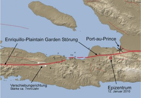 Abbildung 5 zeigt den Verlauf der Störung (rote Linie) sowie die Lage der Epizentren des Hauptbebens und der Nachbeben.