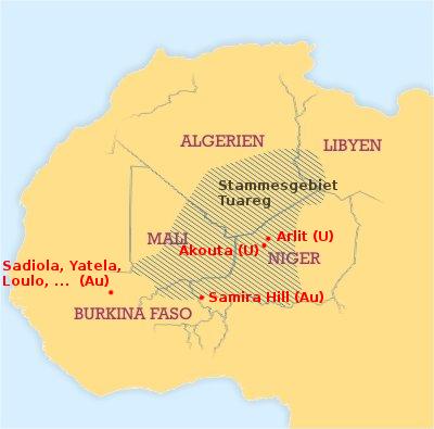 Siedlungsraum der Tuareg und wichtige Bergwerke in Mali und Niger (CC-BY-SA 3.0 Mark Dingemanse / Wikimedia / Karl Urban)