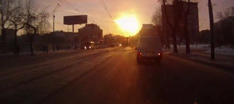 Meteorit über Tscheljabinsk ((c) Maksim Mingaljov)
